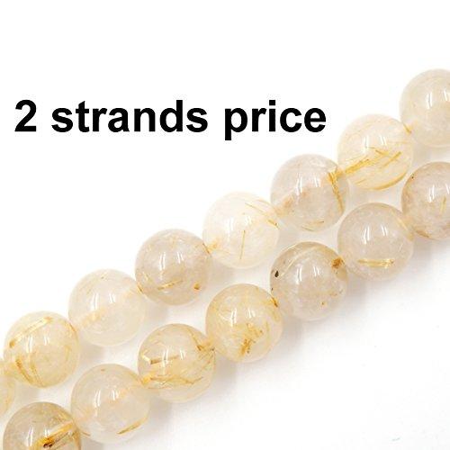 Precious Gemstone Beads for Jewelry Making, 100% Natural AAA Grade, Sold per Bag 2 Strands Inside (Golden Rutilated Quartz, 8mm)