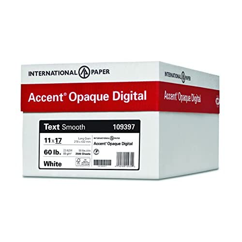 Nice Accent Opaque Digital Inkjet with ImageLok Technology, White, 24lb / 60lb, Ledger, 11 x 17, 95 Bright, 2,500 Sheets / 5 Ream Case, (029397C) Made In The USA