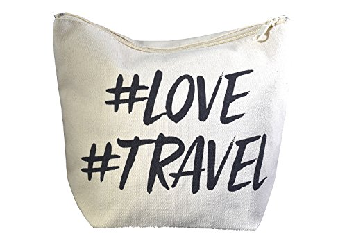 Natural Cotton Canvas Makeup Bag and Travel Pouch, Hashtag Bag, Small Carryon Bag for Travel, Makeup and Accessories Bag with Zipper, School Supply Bag with Hashtag - 9