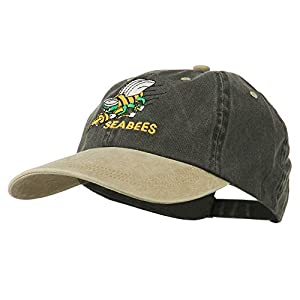 Navy Seabees Symbol Embroidered Dyed Two Tone Cap - Black Khaki
