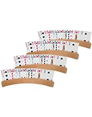 Curved Wooden Playing Card Holder, 4PCS Arc Playing Cards Holder Hands Free Cards Holder for Poker Parties, Family Card Game Nights