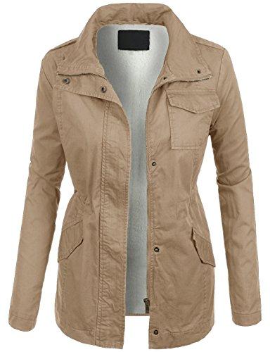 KOOLDO Womens Military Anorak Sherpa Lining Zip Up Long Sleeve Jacket-M-KHAKI