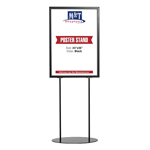 Heavy Duty Oval Display Advertising Info Double Sided Poster Sign Holder board 24X36 Poster Size, Aluminum, Double Sided (Black)