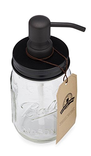 Jarmazing Products Mason Jar Soap Dispenser – Black – with 16 Ounce Ball Mason Jar – Made from Rust Proof Stainless Steel
