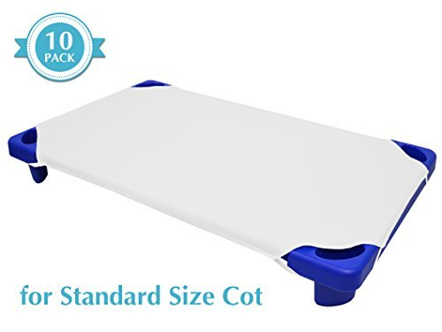 """American Baby Company 10-Piece Cotton-Polyester Blend, Standard Day Care Cot Sheets, White, 23"""" x 51"""""""