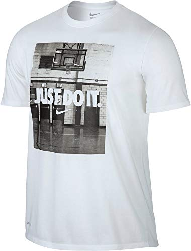 NIKE Mens Large Just Do It Graphic Print Tee Shirt White L