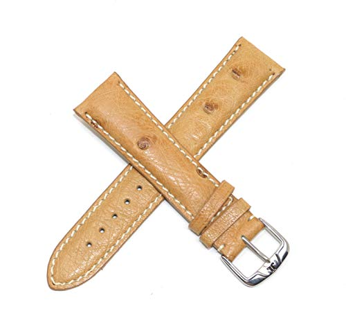 Jacques Lemans 21MM Camel Brown Genuine Ostrich Leather Skin Watch Strap Band with Silver Stainless Steel JL Buckle
