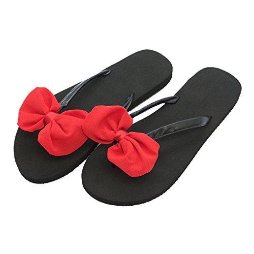 para Playa Verano Chanclas Rojo En Slip En Toe De Chicas Mujer La Damas Lazo On Zapatos Chanclas Sandalias Casuales Vacaciones 2cm Zapatillas Clip Negro con Plana Flat Plataforma para De Tacón S0Tfx5Uw