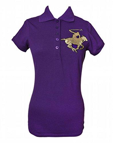 Beverly Hills Polo Club Women's Polo Shirt, Gold / Purple, Medium