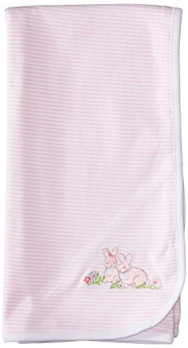 Little Me Baby Girls' Bunnies Blanket, Pink Stripe, One Size
