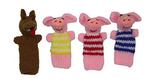 Three Little Pigs Finger Puppet Set 4 - Hand Knit Fair Trade From Peru