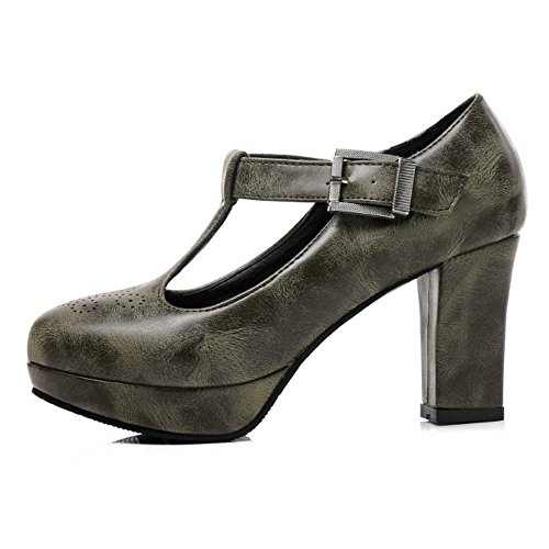 Heel Fashion T Pumps Women TAOFFEN Bar Green Block PTpnw