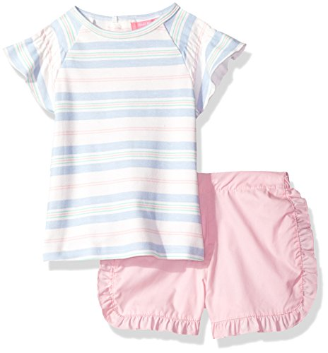 Isaac Mizrahi Baby Girls' 2 Piece Rear Snap Popover Shirt Set With Shorts, Light Blue Stripes, 12 Months (Set Popover)