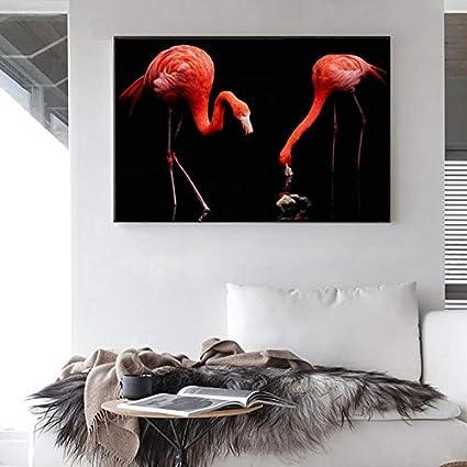 ganlanshu Arte Moderno de la Pared Animal Pintura al óleo Rosa pájaro Amante Imagen decoración de la Sala de Estar,Pintura sin Marco,40X60cm