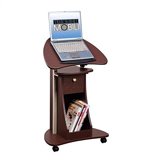Pemberly Row Deluxe Height Adjustable Laptop Cart in Chocolate by Pemberly Row