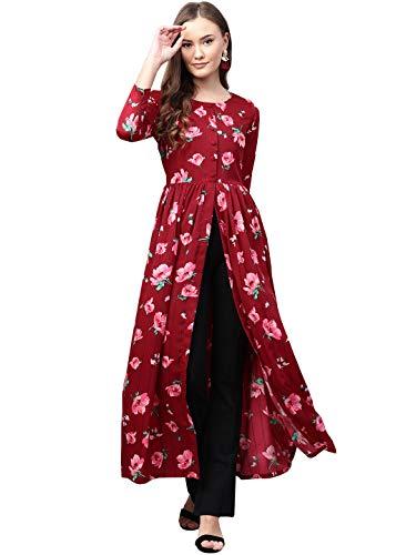 ROZVEH Women's Maroon Stripe Floral Print High Slit Maxi Dress