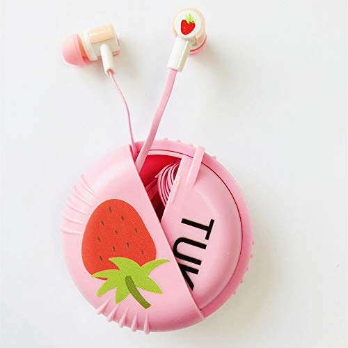 Qearfun Candy Color Wired Cute Fruit Earbuds with Earphone Case with Mic Hands-Free Compatible iPhone, Samsung, HTC, Huawei (Pink)