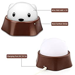 Rechargeable Night Light for Kids Room, Overfly LED Bedside Lamp Nursery Nightlight Baby Bedroom Table Top Decor, 2 Lighting Mode, USB Charging - Warm White