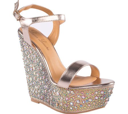 9b8b2870dda4 Lauren Lorraine Women s Pari Jeweled Ankle Strap Wedge
