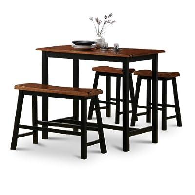 4 Piece Natural Oak Finish Table Saddle Barstools Set - Natural Oak Finish All Solid Wood Durable - kitchen-dining-room-furniture, kitchen-dining-room, dining-sets - 410LoOJ7 tL. SS400  -