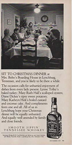 "Magazine Print ad: 1987 Jack Daniels Old No 7 Tennessee Whiskey, ""Sit to Christmas Dinner at Mrs Bobo"