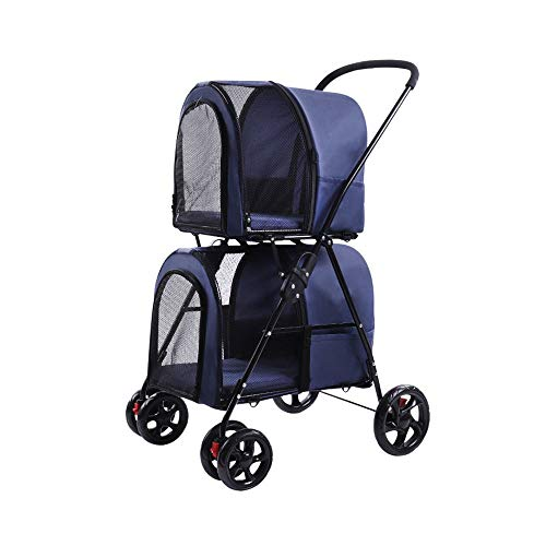 WMDD Double Layer Pet Stroller Detachable Double Dog Stroller Easy One-Click Folding Two-Way Import and Export