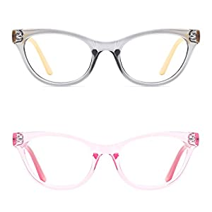 TIJN Super Inspired Mod Fashion Cat Eye Glasses Translucent Eyewear Frame (B, 51-20-145)