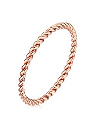 Vnox 1.5mm Stainless Steel French Rope Wedding Ring for Women,Rose Gold Size 5-7
