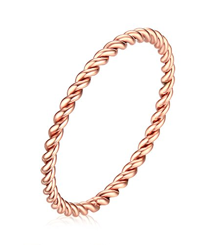 Vnox 1.5mm Stainless Steel French Rope Wedding Ring for Women,Rose Gold Plated Size (Rope Thumb Ring)
