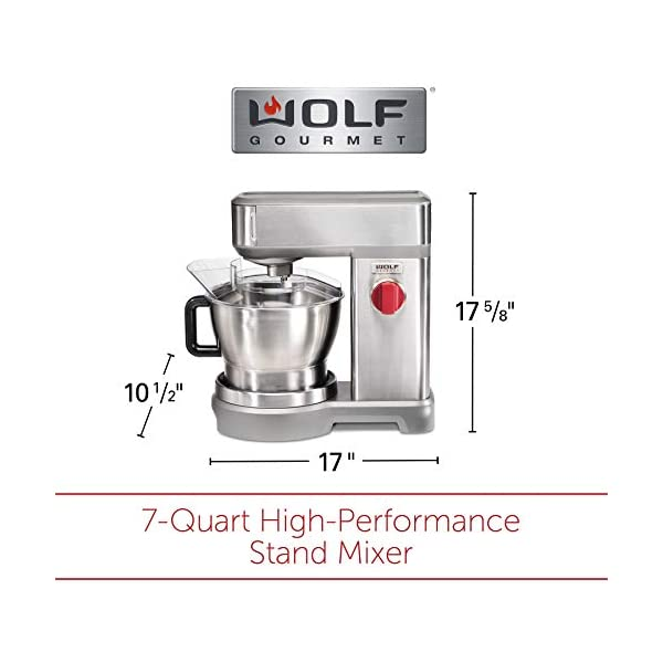 Wolf Gourmet High-Performance Stand Mixer, 7 qrt, with Flat Beater, Dough Hook and Whisk, Brushed Stainless Steel… 7
