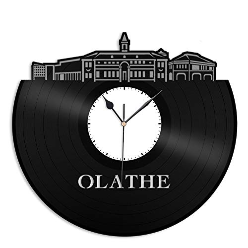 VinylShopUS - Olathe KS Vinyl Wall Clock City Skyline Cityscape Record Souvenir Unique Gift for Friends Men Women | Anniversary Home Room Office Decoration