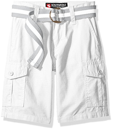 Southpole Boys' Belted Ripstop Basic Cargo Shorts, White, (Southpole Belted Jeans)