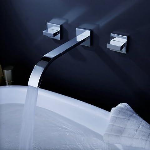 Lightinthebox Two Handle Widespread Flexble Wall Mounted Bathroom Vessel Sink Lavatory Faucet Chrome Finish Spout Bathtub Mixer Taps Bath Shower FaucetsShower System Widespread Waterfall - Wall Mount Widespread Sink