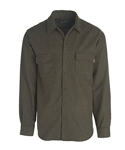 Woolrich Men's Bering Wool Plaid Shirt, Solid Dark Olive, X-Large