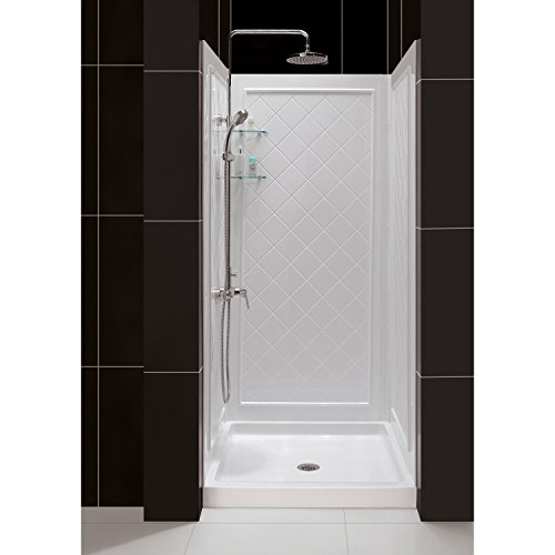 DreamLine SlimLine 32'' by 32'' Shower Base and QWALL-5 Shower Backwall Kit, DL-6195C-01 by DreamLine
