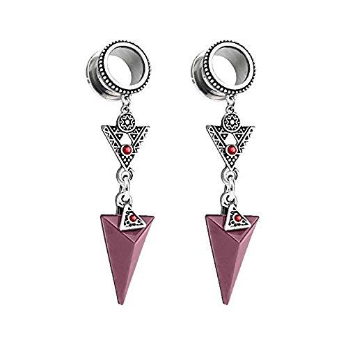 4 gauge pink gem earrings - 2