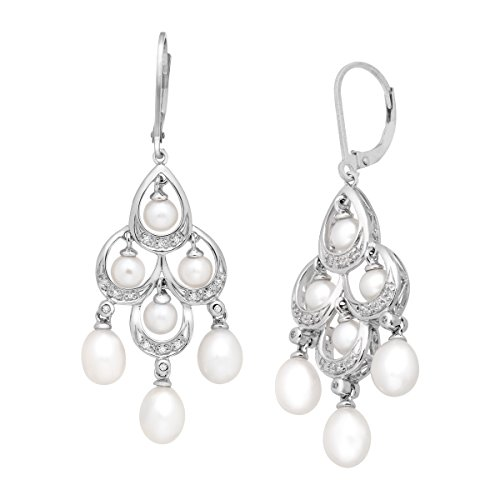 Freshwater Cultured Pearl and 1/10 ct Diamond Chandelier Earrings in Sterling Silver