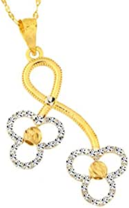 18KT Gold, Yellow & White Infinity Pendant with chain