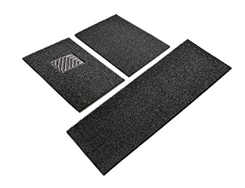 ENA Universal Fit Heavy Duty and Water Resistant 3 Piece Carpet Vehicle Floor Mats ()