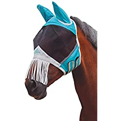 Shires Fine Mesh Fly Mask with Nose Fringe, Teal, Full