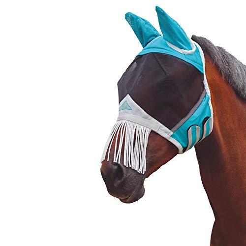 Shires Fine Mesh Fly Mask with Nose Fringe, Teal, ()