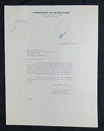 Elmer Layden Four Horsemen Notre Dame Signed Typed Letter TLS w/Football Conten - College Cut - Signed Typed