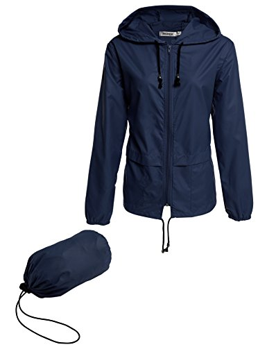 Meaneor Womens Rainwear Active Outdoor Hooded Cycling Packable and Lightweight Jacket Blue 2XL