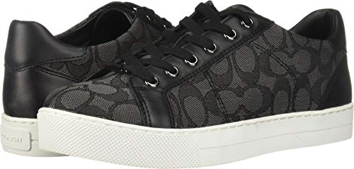 Coach Womens Paddy Low Top Lace Up Fashion Sneakers, Smoke/Coal/Black, Size 9.5