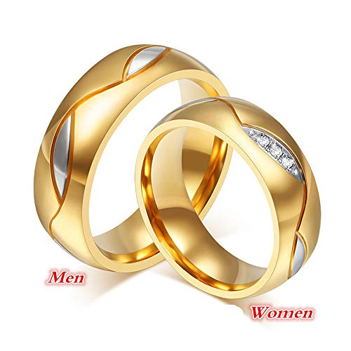 Haluoo 18K Gold Plated 6mm Wide Wedding Rings for Men and Women Titanium Steel Ring Couple Matching Rings Statement Promise Engagement Ring (10, Women)