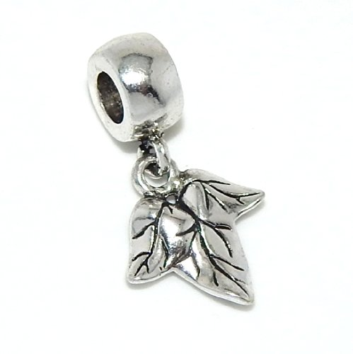 PJEWELRY 3D Leaf Dangling Bead Compatible with European Snake Chain ()