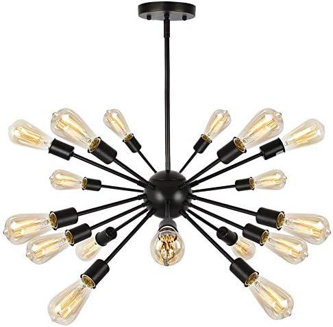 T A 18 Lights Modern Metal Sputnik Chandelier,Mid Century Ceiling Light Fixture Industrial Style Pendant Lighting for Kitchen Living Room Dining Room Matte Black