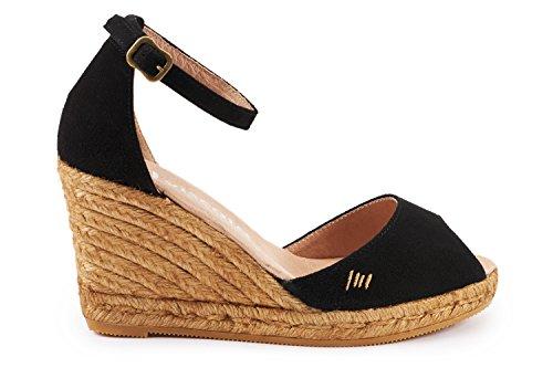 VISCATA Caprubi Elegant Comfort, Soft Suede, Ankle-Strap, Open Toe, Espadrilles with 3-inch Heel Made in Spain Black