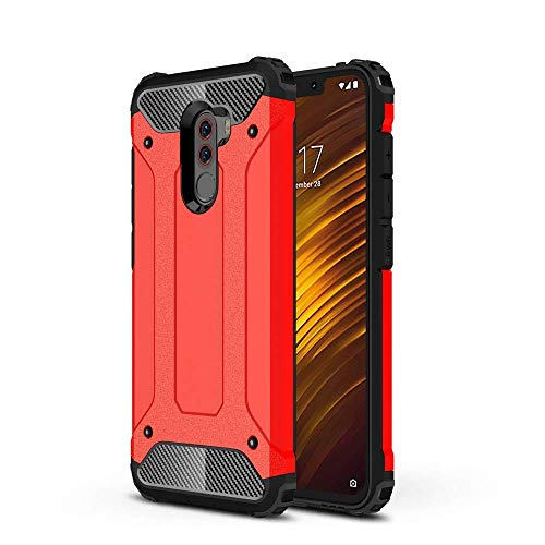 Xiaomi Pocophone F1 Case, Shockproof Rugged Anti-Drop Armor Heavy Duty Hybrid Full-Body Protective Hard Back Cover for Xiaomi Pocophone F1 w/Tempered Glass Screen Protector (Red) (Tempered Glass Sun)