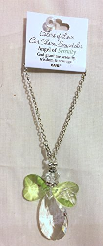 - New Ganz Crystal Car Charm Suncatcher Prism Ornament- Green Angel of Serenity